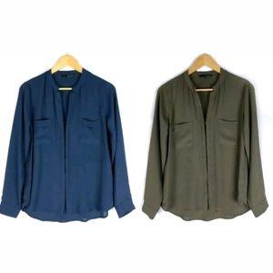 Ro & De blue green pocket blouse tops LOT OF 2